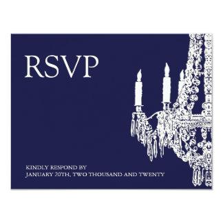 """Tarjetas azules de medianoche de RSVP de la Invitación 4.25"""" X 5.5"""""""
