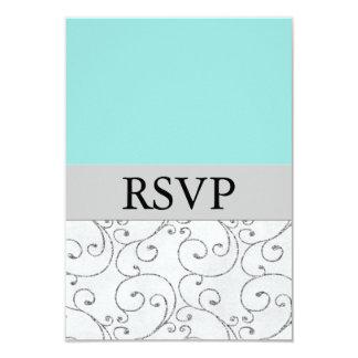 """Tarjetas azules de plata de la respuesta de invitación 3.5"""" x 5"""""""