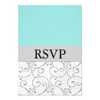 Tarjetas azules de plata de la respuesta de RSVP q Comunicados Personales