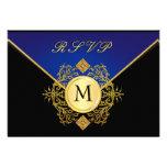Tarjetas azules de RSVP de la ocasión especial del Invitaciones Personalizada