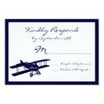 Tarjetas azules de RSVP del aviador del biplano Comunicado Personal