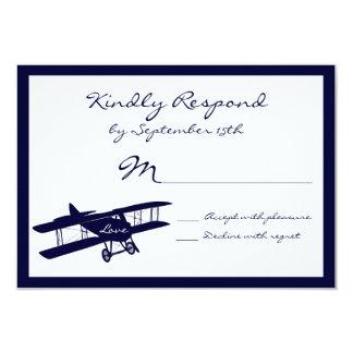 Tarjetas azules de RSVP del aviador del biplano Invitación 8,9 X 12,7 Cm