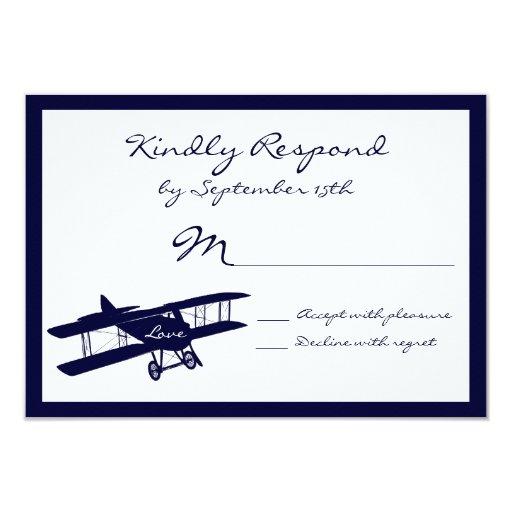 """Tarjetas azules de RSVP del aviador del biplano Invitación 3.5"""" X 5"""""""