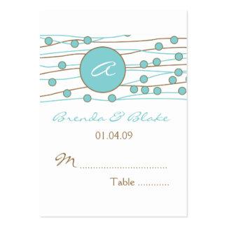Tarjetas azules del asiento de la tabla del boda d tarjetas de visita grandes