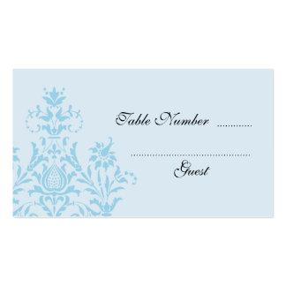 Tarjetas azules del lugar de la tabla del boda del plantillas de tarjetas de visita