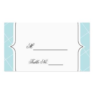 Tarjetas azules del lugar del boda de la concha de tarjetas de visita