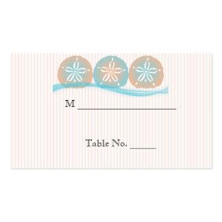 Tarjetas azules del lugar del boda de playa de los tarjetas de visita