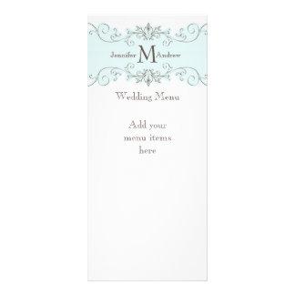 Tarjetas azules del menú del boda del vintage lonas