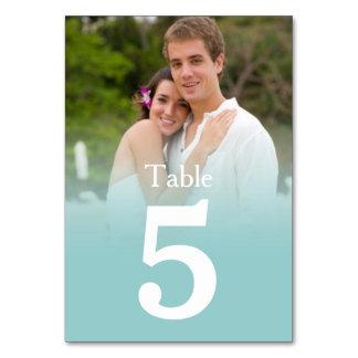 Tarjetas azules del número de la tabla de la foto