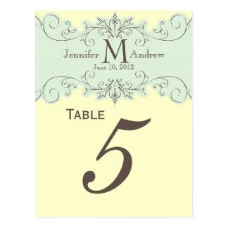 Tarjetas azules del número de la tabla del boda de postal