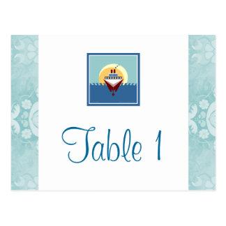 Tarjetas azules del número de la tabla del tema de postal