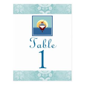 Tarjetas azules del número de la tabla del tema de postales