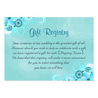Tarjetas azules del registro de regalos de la tarjetas de visita grandes