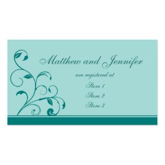 Tarjetas azules del registro de regalos del boda tarjetas de visita