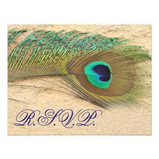 tarjetas azules del rsvp del pavo real anuncio