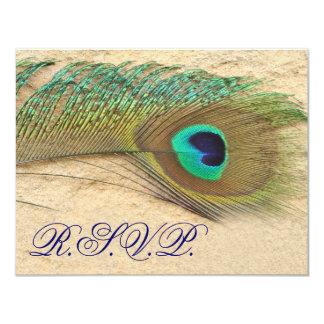 """tarjetas azules del rsvp del pavo real invitación 4.25"""" x 5.5"""""""