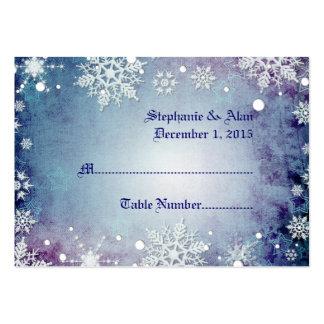 Tarjetas azules hivernales del lugar del boda tarjetas de visita grandes