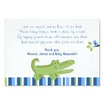 Tarjetas azules/verdes del cocodrilo de RSVP del Anuncios Personalizados