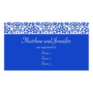 Tarjetas azules y blancas del registro de regalos tarjetas de visita