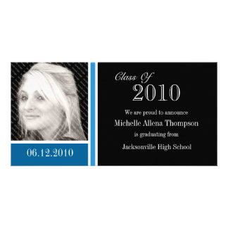 Tarjetas azules y negras de la foto de la tarjeta personal con foto