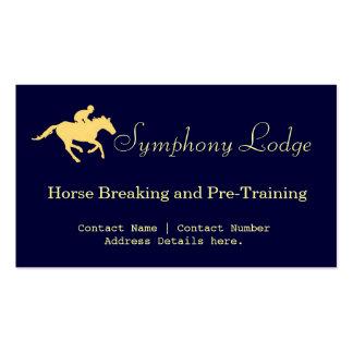 Tarjetas azules y poner crema del caballo elegante tarjetas de visita