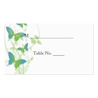 Tarjetas azules y verdes del lugar del boda de la tarjetas de visita