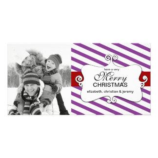 Tarjetas banales de la foto del navidad rayado - a tarjetas con fotos personalizadas