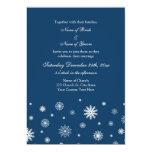 Tarjetas blancas azules de la invitación del boda