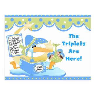 Tarjetas blancas de los tríos del muchacho de la tarjeta postal