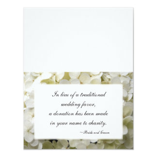 """Tarjetas blancas del favor de la caridad del boda invitación 4.25"""" x 5.5"""""""