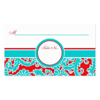Tarjetas blancas del lugar del damasco del rojo az tarjetas de visita
