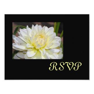"""Tarjetas blancas divinas de RSVP de la dalia Invitación 4.25"""" X 5.5"""""""