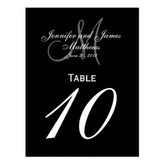 Tarjetas blancas negras del número de la tabla del tarjetas postales