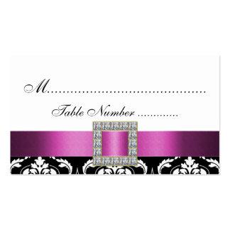 Tarjetas blancas negras rosadas del lugar del boda plantilla de tarjeta de visita