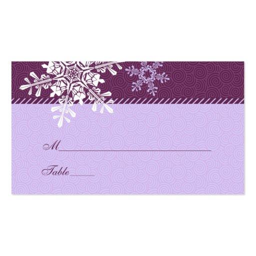 Tarjetas blancas púrpuras del lugar del boda del i tarjetas personales