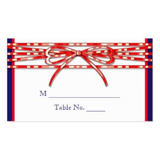 Tarjetas blancas y azules rojas del lugar del boda tarjetas de visita