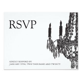 """Tarjetas blancos y negros con clase de RSVP de la Invitación 4.25"""" X 5.5"""""""
