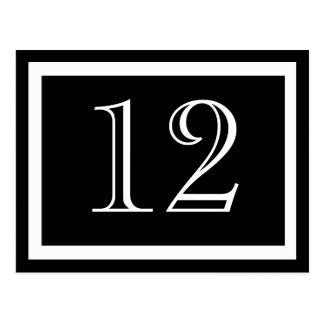 Tarjetas blancos y negros del número de la tabla postales