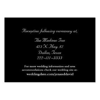 Tarjetas blancos y negros del recinto del boda tarjetas de visita grandes