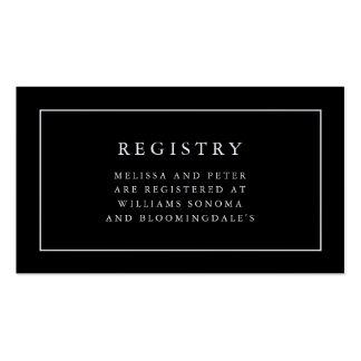 Tarjetas blancos y negros elegantes del registro tarjetas de visita