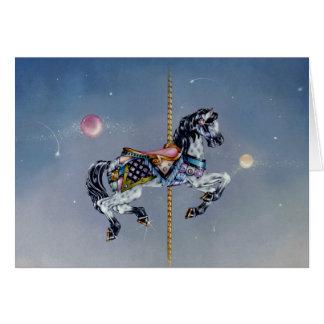 Tarjetas - caballo gris del carrusel de la yegua