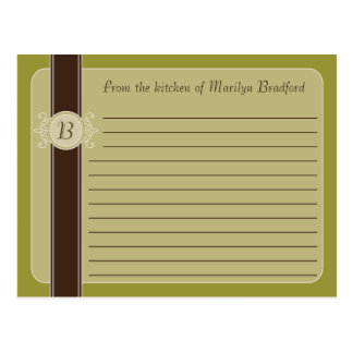 Tarjetas clásicas de la receta de la cosecha del a tarjeta postal