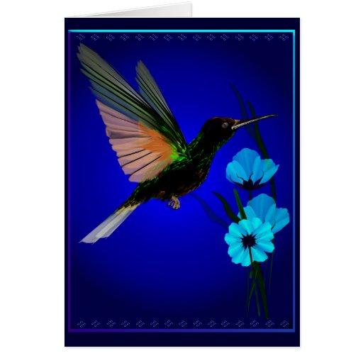 Tarjetas Colibrí-Azules verdes de las flores