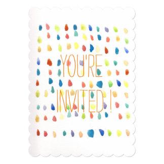 Tarjetas coloridas de la invitación de la acuarela