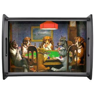 Tarjetas con siete perros afortunados bandeja
