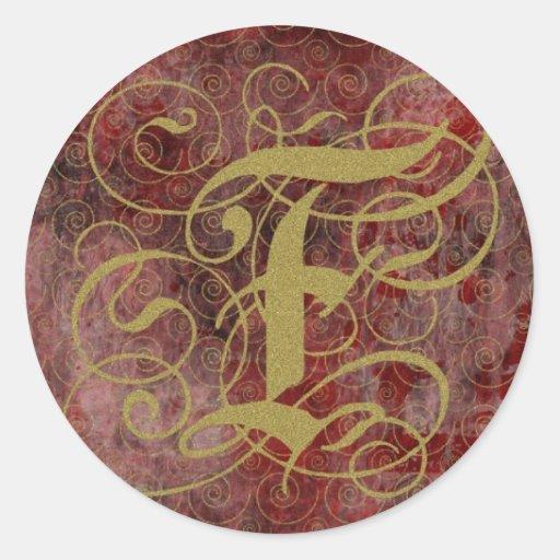 Tarjetas cones monograma del estilo antiguo del pegatina redonda