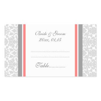 Tarjetas coralinas del cubierto de la tabla del bo tarjetas de negocios