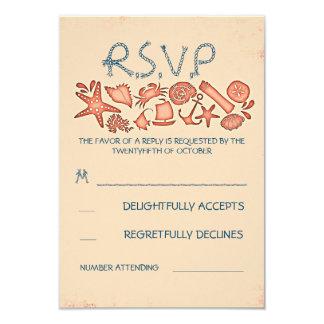 tarjetas coralinas náuticas de RSVP del boda de Invitación 8,9 X 12,7 Cm