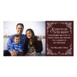 Tarjetas cristianas rojas de la foto del navidad d tarjeta fotografica personalizada