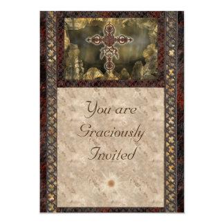 Tarjetas cruzadas de la invitación del moho
